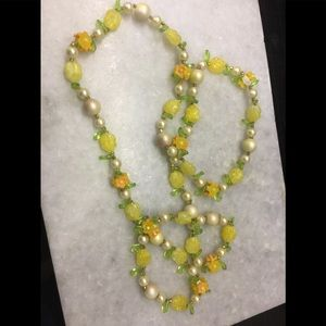 VTGE ORANGE YELLOW 50's Flower PEARL LONG NECKLACE